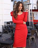 Вечернее платье по фигуре ниже колен, с открытой спиной и длинным рукавом (р. 40-44) 14PL1673, фото 1