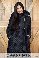 Длинное черное пальто стеганое с капюшоном и поясом в больших размерах 1BR810, фото 1