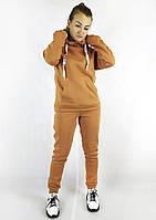 Теплый женский спортивный костюм из трикотажа светло-коричневого цвета S, M, L, фото 1