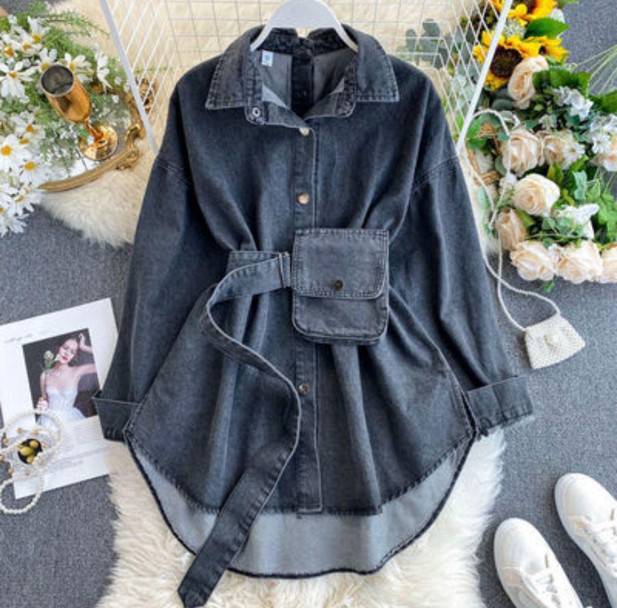 Женская удлиненная джинсовая рубашка с поясом и кошельком на поясе (р. 42-46) 78rz421
