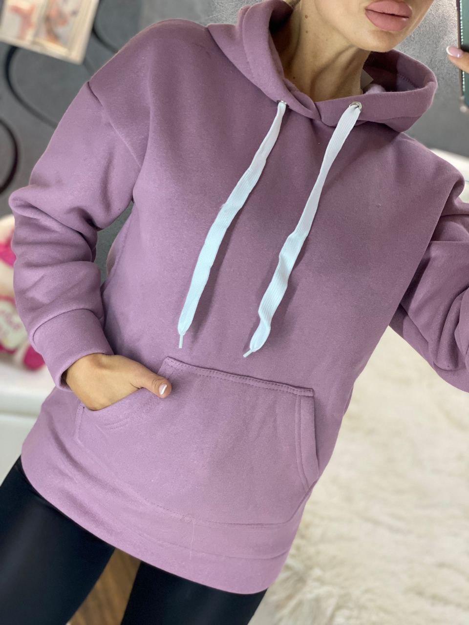 Женское удлиненное теплое худи на флисе с капюшоном (размеры 42-50) 4dm939