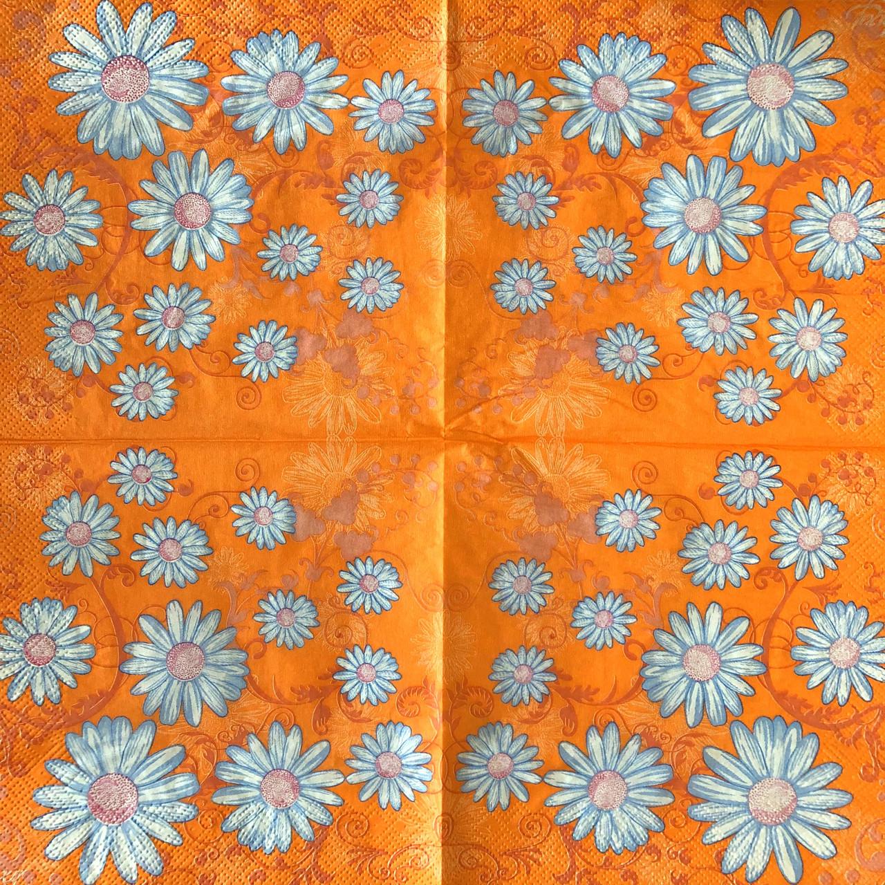 "Салфетки для декупажа 33x33 см 2 ""Цветы ромашки "" салфетка декупажная. Серветка для декупажу"