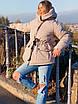 Женская куртка миди с кулиской на поясе и мехом на капюшоне (р. 42-46) 18ki482, фото 2