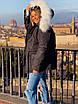 Женская куртка миди с кулиской на поясе и мехом на капюшоне (р. 42-46) 18ki482, фото 5