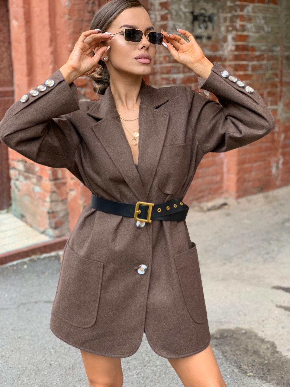 Женское пиджак - Пальто с карманами, декорирован пуговицами (р. 42-46) 58lt301