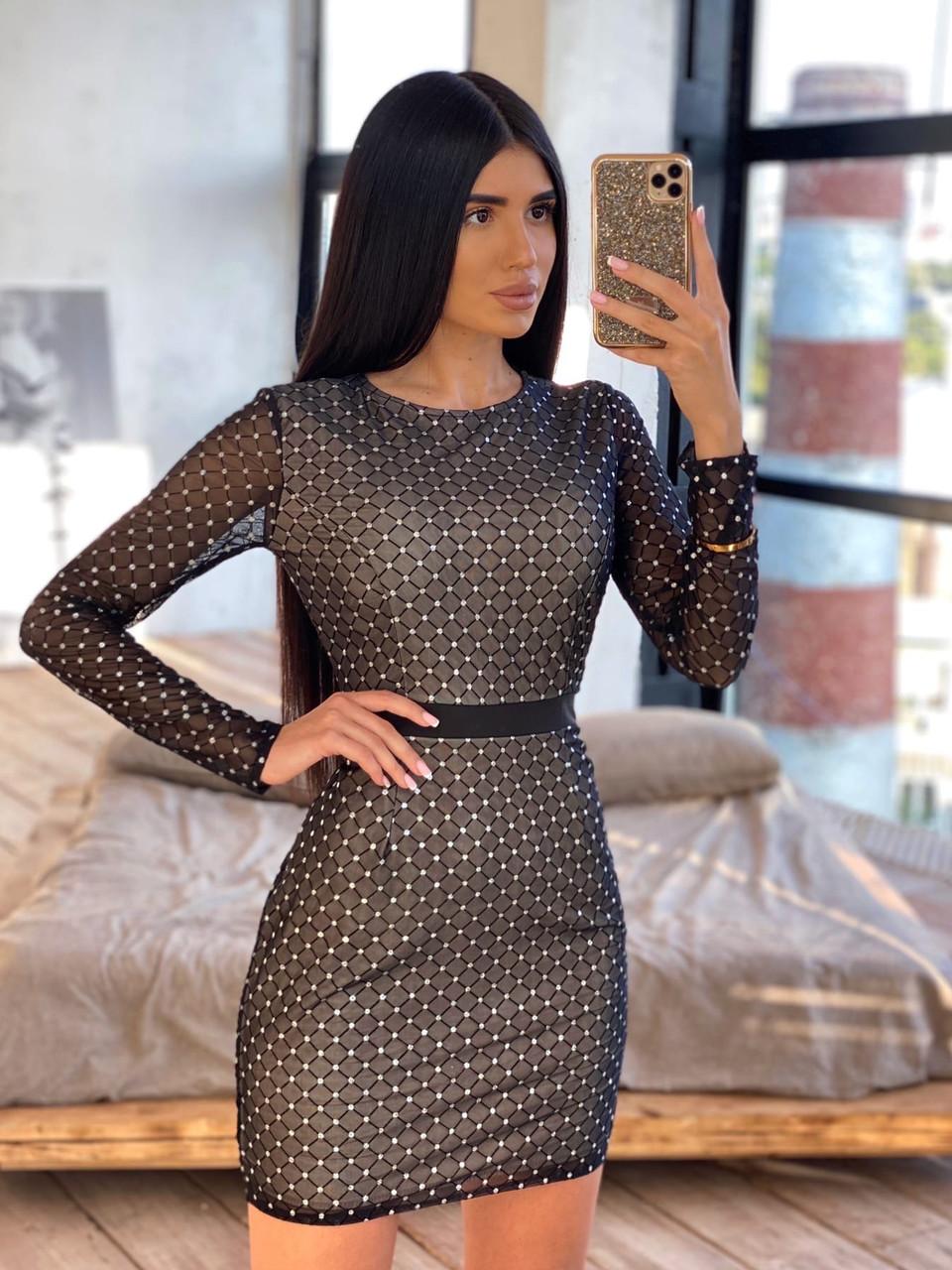 Облегающее черное короткое платье из сетки ромбиками с блестками 66ty1645Е