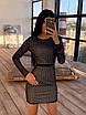 Облегающее черное короткое платье из сетки ромбиками с блестками 66ty1645Е, фото 2