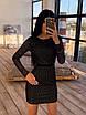 Облегающее черное короткое платье из сетки ромбиками с блестками 66ty1645Е, фото 3