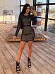 Облегающее черное короткое платье из сетки ромбиками с блестками 66ty1645Е, фото 4