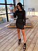 Облегающее черное короткое платье из сетки ромбиками с блестками 66ty1645Е, фото 6