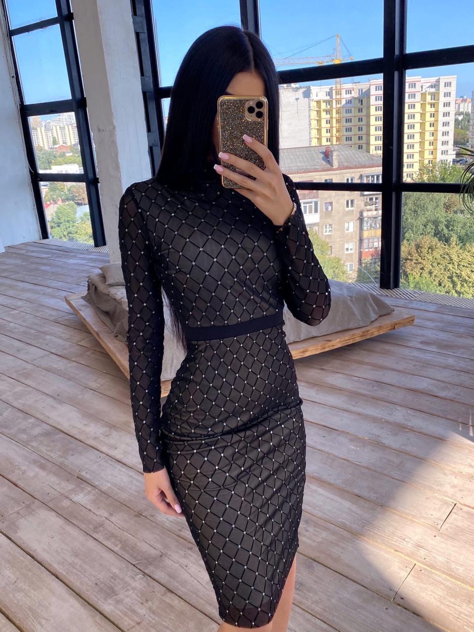Облегающее черное платье футляр из сетки ромбиками с блестками длиной миди 66ty1647Q