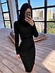 Облегающее черное платье футляр из сетки ромбиками с блестками длиной миди 66ty1647Q, фото 2