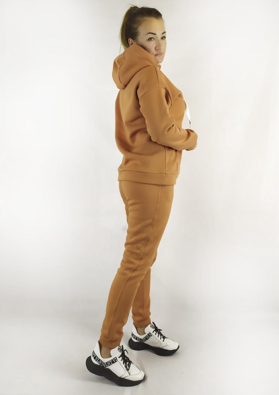 Утепленный женский спортивный костюм с капюшоном в цвете корица XL, XXL, 3XL