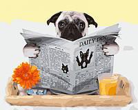 Картина по номерам Пес с газетой, фото 1