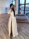 Длинное вечернее платье макси с глубоким V-вырезом и разрезом на расклешенной юбке 66plt1642Е, фото 2
