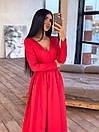 Длинное вечернее платье макси с глубоким V-вырезом и разрезом на расклешенной юбке 66plt1642Е, фото 3