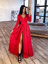 Длинное вечернее платье макси с глубоким V-вырезом и разрезом на расклешенной юбке 66plt1642Е, фото 4
