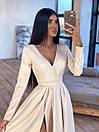 Длинное вечернее платье макси с глубоким V-вырезом и разрезом на расклешенной юбке 66plt1642Е, фото 6