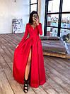 Длинное вечернее платье макси с глубоким V-вырезом и разрезом на расклешенной юбке 66plt1642Е, фото 8