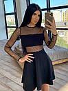Короткое платье с блестками и вставками сетки на талии и рукавах 66plt1643Q, фото 3