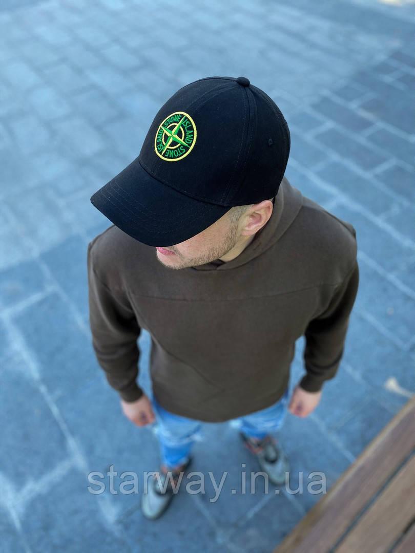 Кепка черная стильная Stone Island лого вышивка