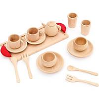 Деревянная игрушечная посуда чайный сервиз из бука