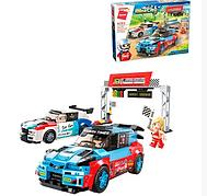 Детский Конструктор Qman 4202 Пит стоп, 2 машинки, фигурки, 450 деталей, в коробке