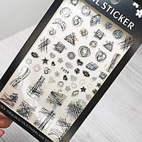 Наклейки для ногтей абстракция, геометрия (слайдер на ногти) черные и серебро № 659