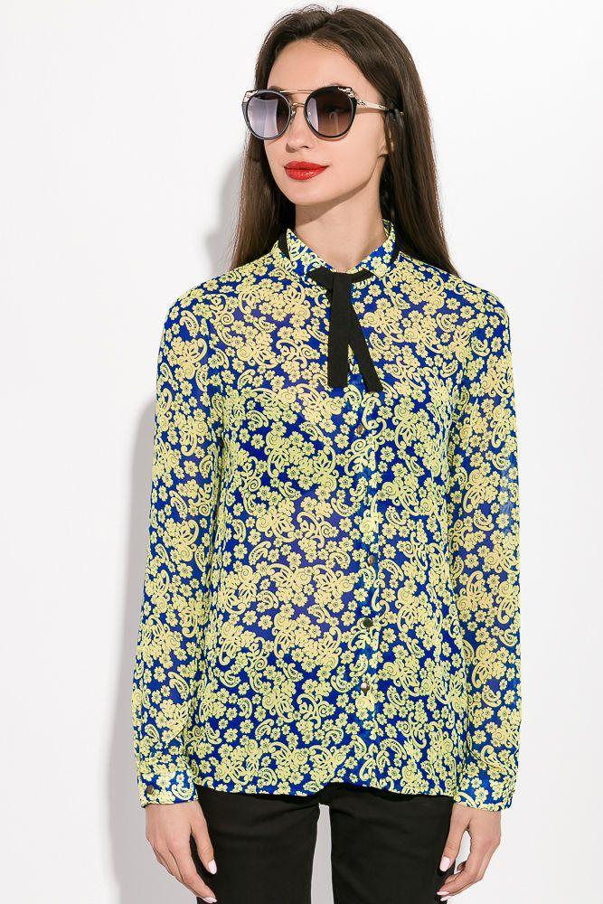Блузка женская 115R020 цвет Сине-желтый