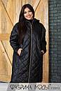 Стеганое Пальто ниже колена, прямого кроя с капюшоном в больших размерах 1blr807, фото 3