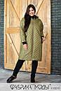 Стеганое Пальто ниже колена, прямого кроя с капюшоном в больших размерах 1blr807, фото 4