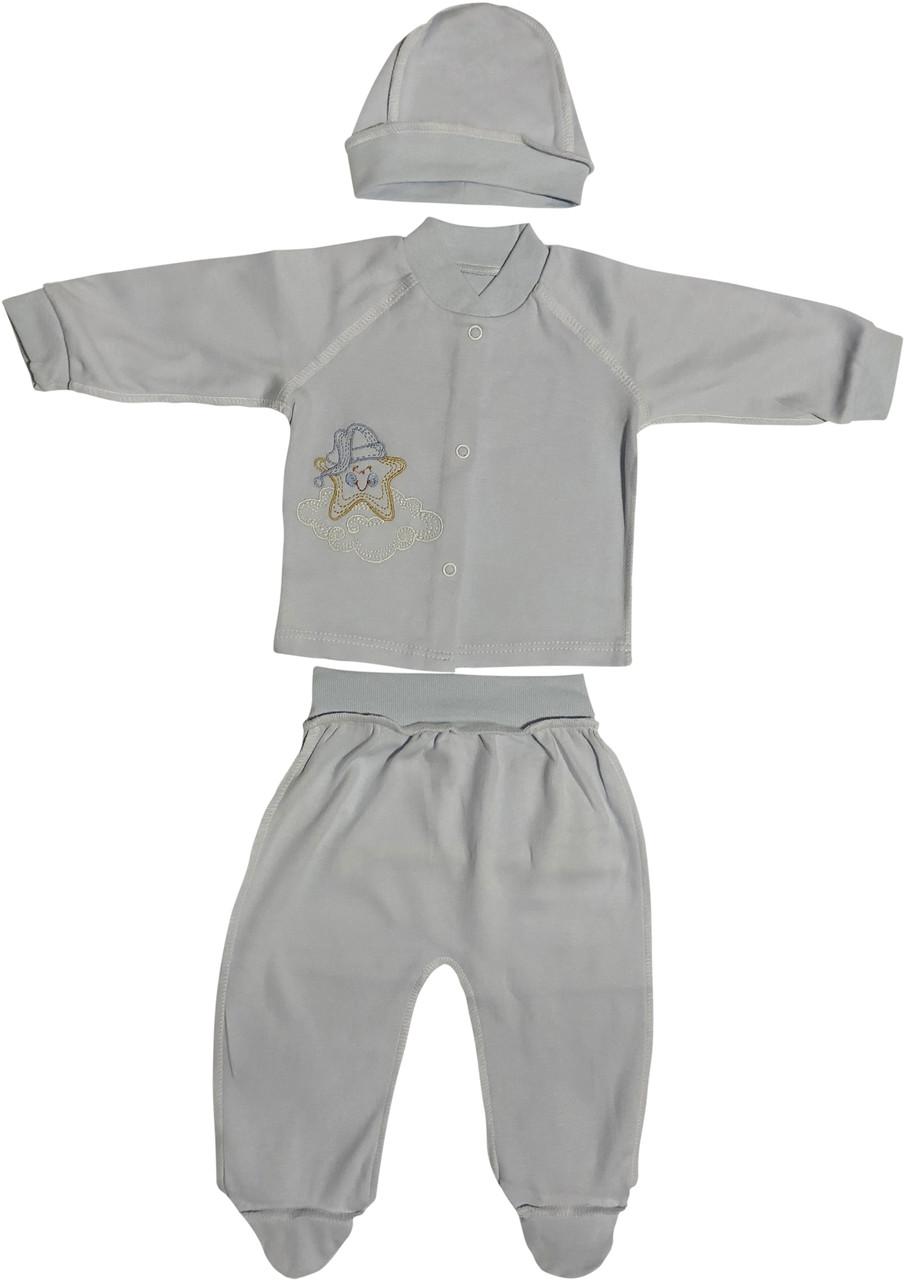 Дитячий костюм ріст 62 2-3 міс трикотаж інтерлок блакитний костюмчик на хлопчика комплект для новонароджених