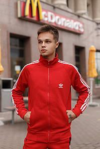 Зимний спортивный костюм Adidas на флисе L, Красный