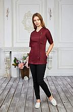 Женская медицинская куртка с декоративной молнией цвет шоколад 42-50