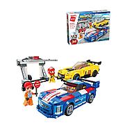 Детский Конструктор Qman 4203 Пит стоп, 2 машинки, фигурки, 423 детали, в коробке