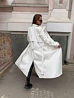 Жіноче довгий тренч з екошкіри під пояс в кольорах (р. 42-46) 58mpa299, фото 1