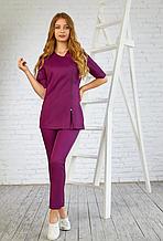 Женская сиреневая медицинская куртка с декоративной молнией 42-50
