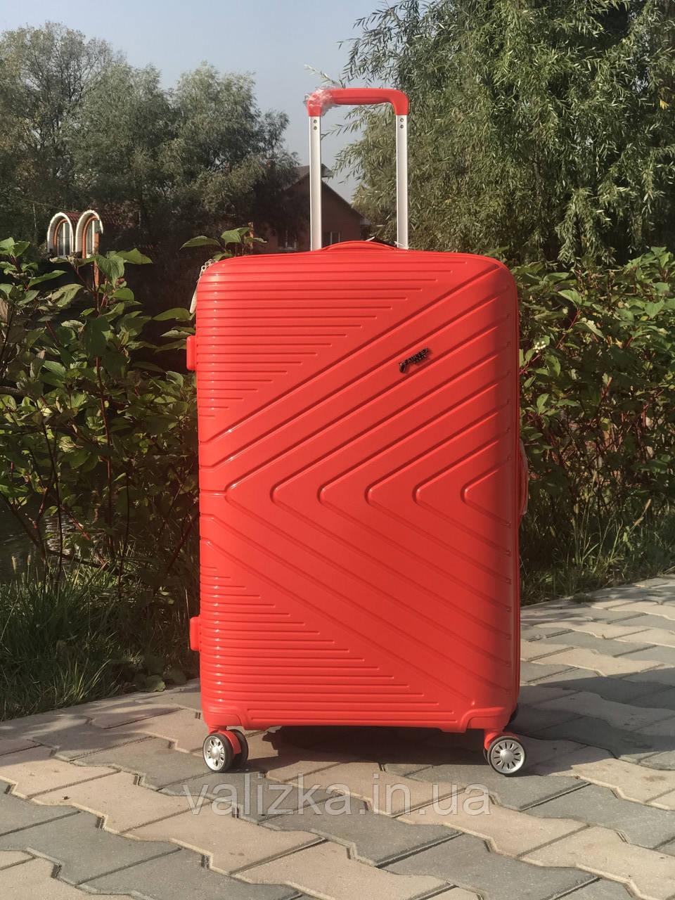 Чемодан из полипропилена пластиковый средний красный с расширителем Франция