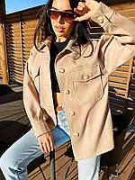 Короткое Женские пальто - рубашка однотонное из кашемира застегивается на пуговицы (р. 42 - 48) 4mpa307