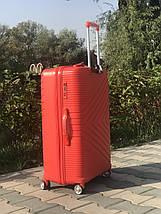 Чемодан из полипропилена пластиковый средний красный с расширителем Франция, фото 2
