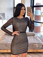 Облегающее черное короткое платье из сетки ромбиками с блестками 66mpl1645Е, фото 1