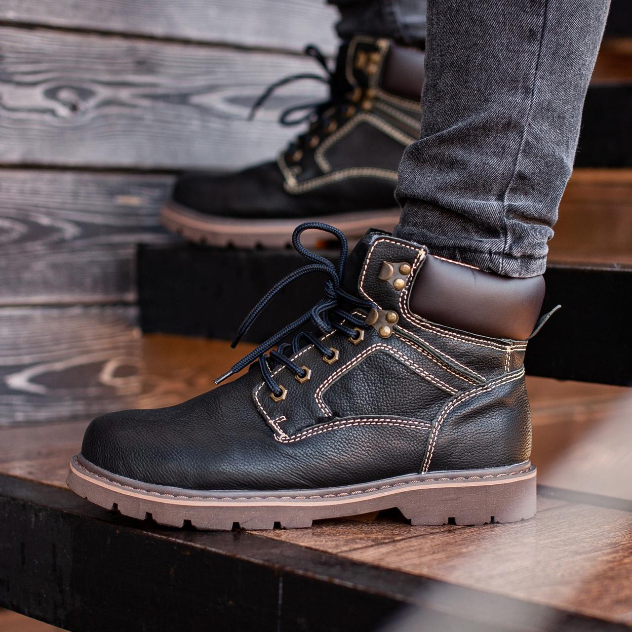 Ботинки мужские зимние South Graft black, зимние классические ботинки