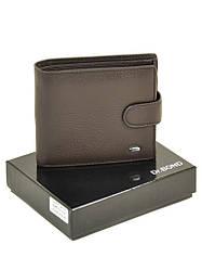 Кожаный кошелек мужской на кнопке с монетницей внутри портмоне коричневый Dr. Bond M53
