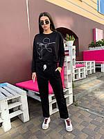 Женский спортивный костюм прогулочный с рисунком на кофте, штаны без манжет (р. 42-48) 84msp1120, фото 1