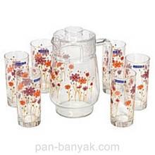 Набор для воды Luminarc Country Flower (кувшин 1,6л+ стакани 270мл-6шт) 7 предметов стекло (1959G)