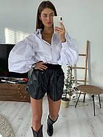 Жіночі шкіряні шорти вільного фасону з гумкою на талії (р. 42, 44) 83SY36, фото 1