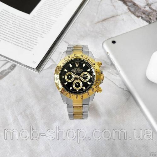 Мужские наручные часы Rolex Daytona Automatic Men Silver-Gold-Black Механика с автоподзаводом