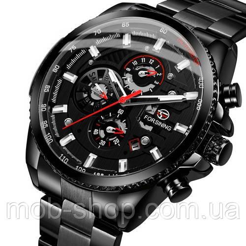 Оригинальные наручные часы Forsining 6909 All Black Red годовая гарантия на механизм