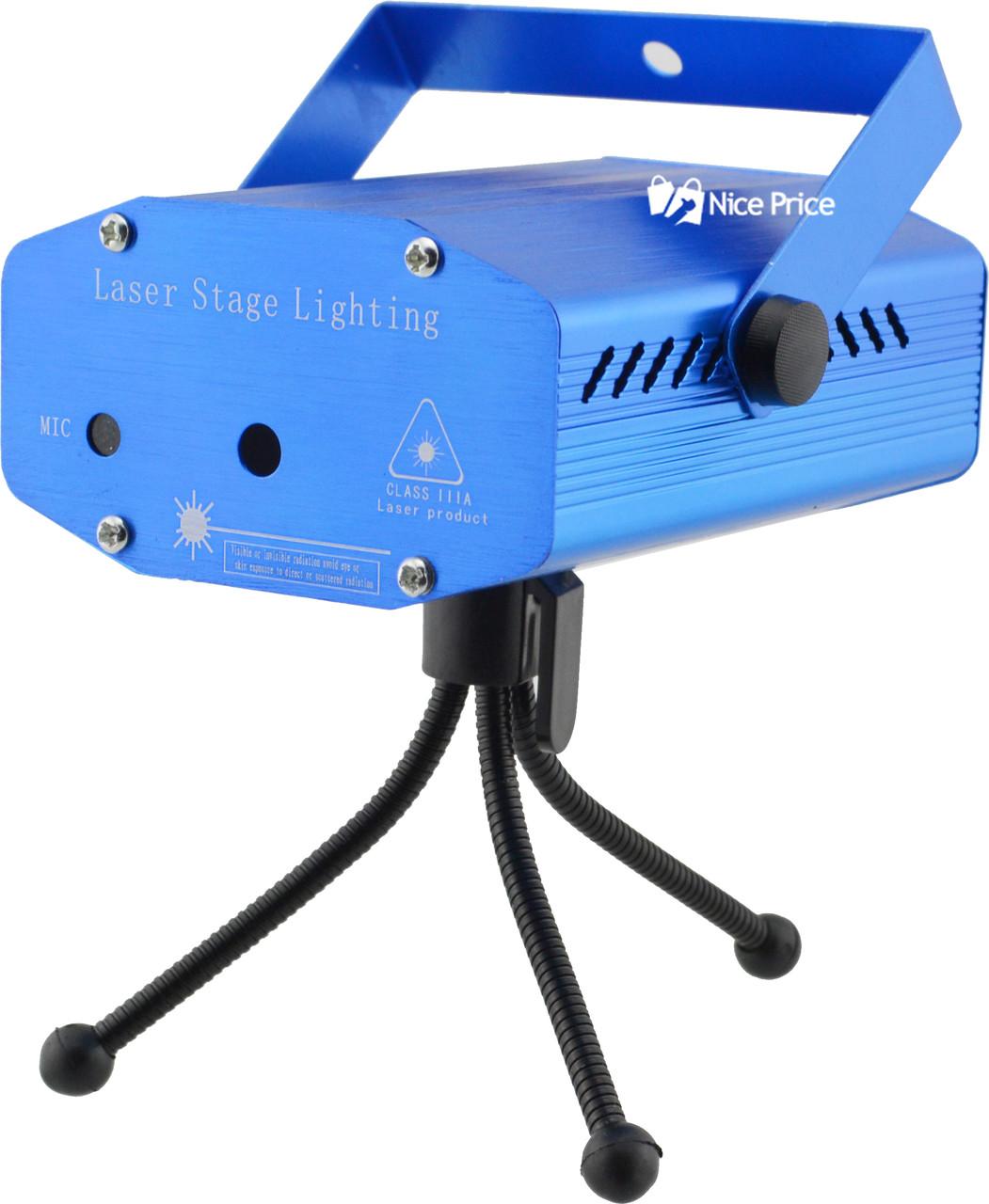 Лазерний проектор, стробоскоп, диско лазер UKC HJ09 2 в 1 c триногой Blue