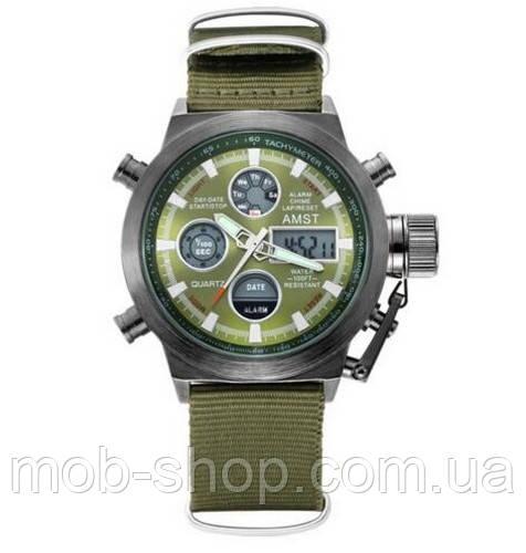 Чоловічий наручний годинник AMST C Black-Green Green Wristband